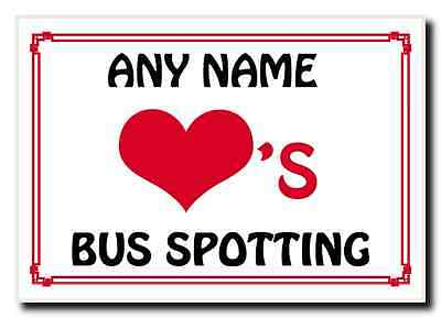 Love Heart Bus Spotting Personalised Jumbo Magnet