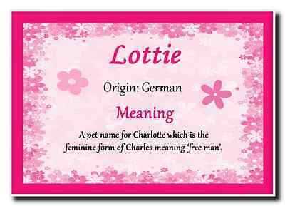 Lottie Personalised Name Meaning Jumbo Magnet
