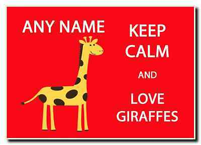 Keep Calm And Love Giraffes Personalised Jumbo Magnet