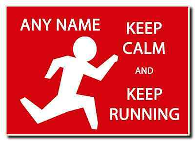 Keep Calm And Keep Running Personalised Jumbo Magnet
