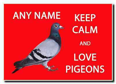 Keep Calm And Love Pigeons Personalised Jumbo Magnet