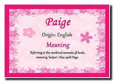 Paige Personalised Name Meaning Jumbo Magnet