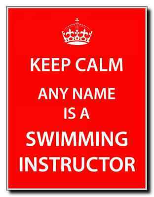 Swimming Instructor Personalised Keep Calm Jumbo Magnet