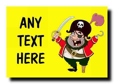 Yellow Pirate Personalised Jumbo Magnet