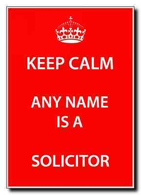 Solicitor Personalised Keep Calm Jumbo Magnet