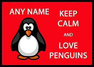 Keep Calm And Love Penguins Personalised Dinner Table Placemat