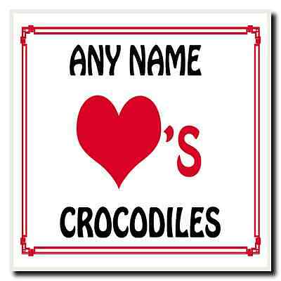 Love Heart Crocodiles Personalised Coaster