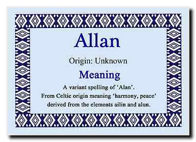 Allan Personalised Name Meaning Jumbo Magnet