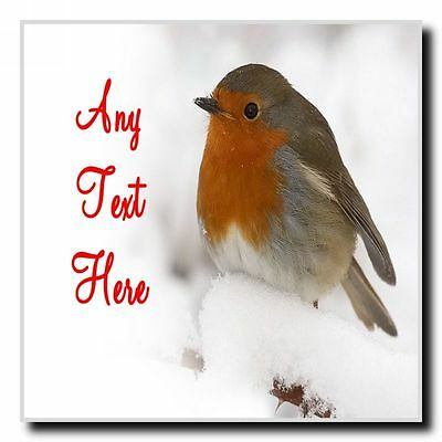 Stunning Robin Christmas Personalised Drinks Mat Coaster