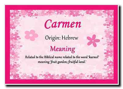 Carmen Personalised Name Meaning Jumbo Magnet