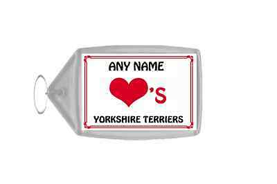 Love Heart Yorkshire Terriers Personalised Keyring