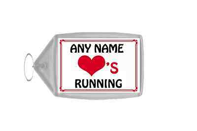 Love Heart Running Personalised Keyring