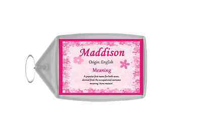 Maddison Personalised Name Meaning Keyring