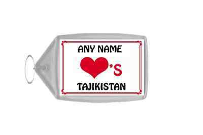 Love Heart Tajikistan Personalised Keyring