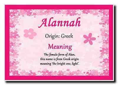 Alannah Personalised Name Meaning Jumbo Magnet