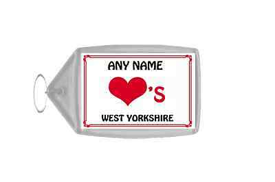 Love Heart West Yorkshire Personalised Keyring