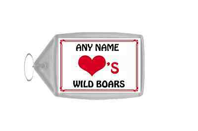 Love Heart Wild Boars Personalised Keyring