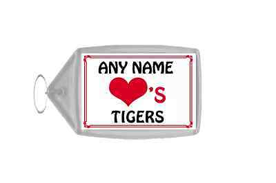 Love Heart Tigers Personalised Keyring