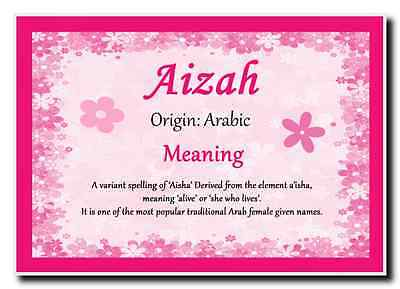 Aizah Personalised Name Meaning Jumbo Magnet