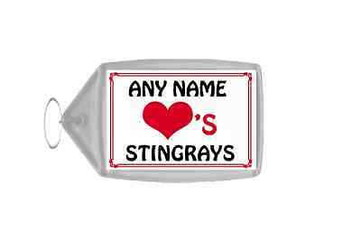 Love Heart Stingrays Personalised Keyring