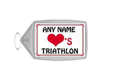Love Heart Triathlon Personalised Keyring