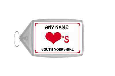 Love Heart South Yorkshire Personalised Keyring