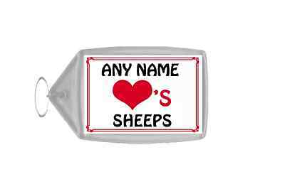 Love Heart Sheeps Personalised Keyring