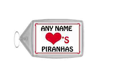 Love Heart Piranhas Personalised Keyring