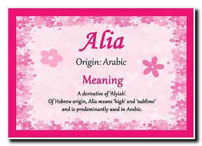 Alia Personalised Name Meaning Jumbo Magnet