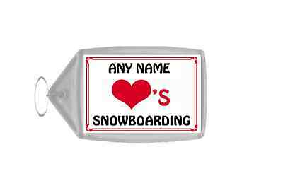 Love Heart Snowboarding Personalised Keyring