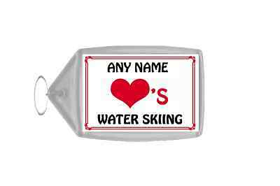 Love Heart Water Skiing Personalised Keyring