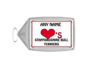 Love Heart Staffordshire Bull Terriers Personalised Keyring
