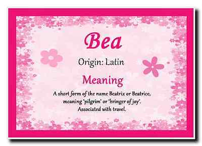 Bea Personalised Name Meaning Jumbo Magnet