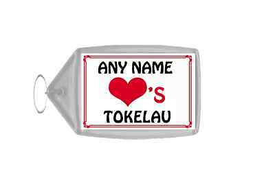 Love Heart Tokelau Personalised Keyring