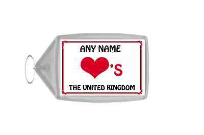 Love Heart The United Kingdom Personalised Keyring