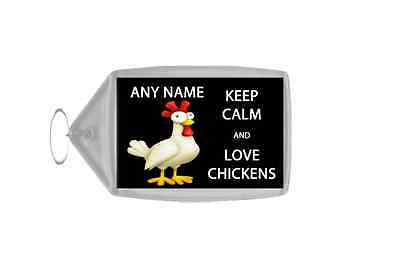 Keep Calm And Love Chickens Personalised Large Keyring