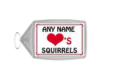Love Heart Squirrels Personalised Keyring