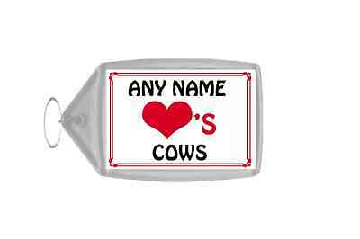 Love Heart Cows Personalised Keyring