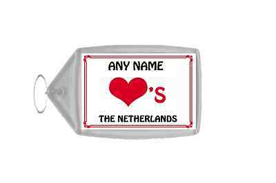 Love Heart The Netherlands Personalised Keyring