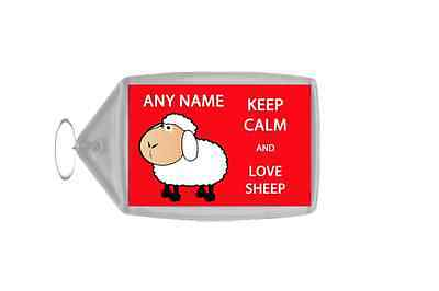 Keep Calm And Love Sheep Personalised Large Keyring