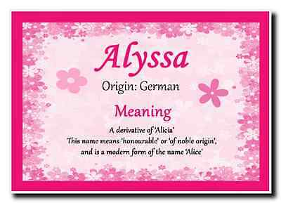 Alyssa Personalised Name Meaning Jumbo Magnet
