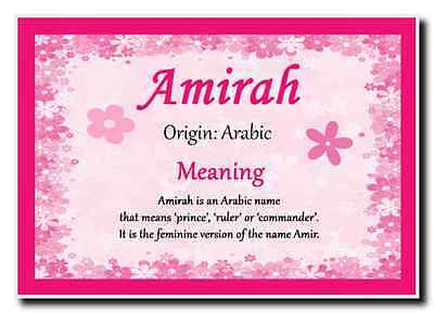 Amirah Personalised Name Meaning Jumbo Magnet