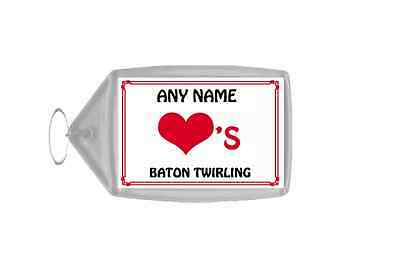 Love Heart Baton Twirling Personalised Keyring