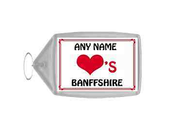Love Heart Banffshire Personalised Keyring