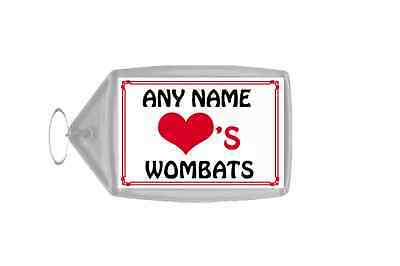 Love Heart Wombats Personalised Keyring