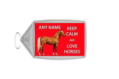 Keep Calm And Love Horses Red Personalised Large Keyring