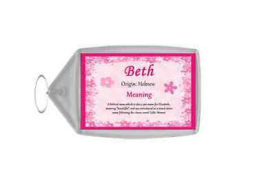 Beth Personalised Name Meaning Keyring