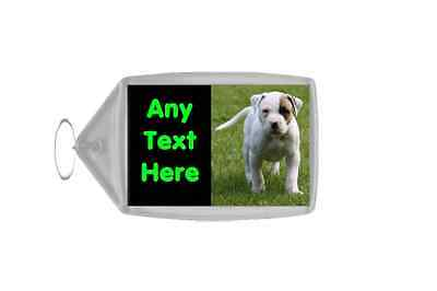 American Bulldog Dog Personalised Keyring