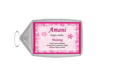 Amani Personalised Name Meaning Keyring