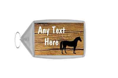 Cracked Wood Horse Personalised Keyring
